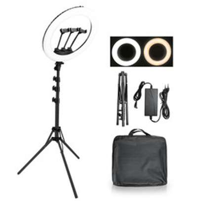 Ring Light -18 Inches + Camera Holder And Phone Hanger With Stand image 1