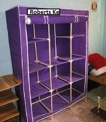 purple portable wooden wardrobe organiser image 3