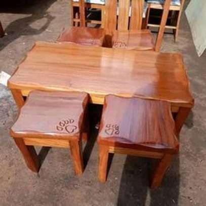 Solid mahogany wood coffee table and  4 stools image 1