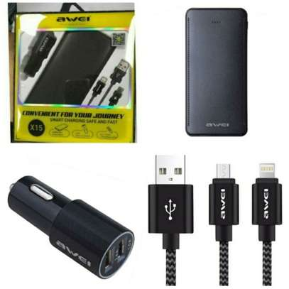 Awei X15 3 In 1, 10000mah Power Bank, Data Cable And Car Charger image 2