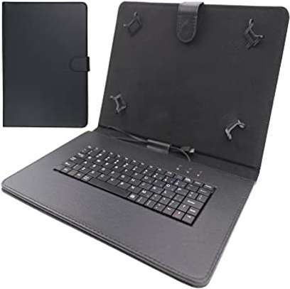 Universal Folding Leather Folio Case Cover Stand & Micro USB Keyboard for image 1