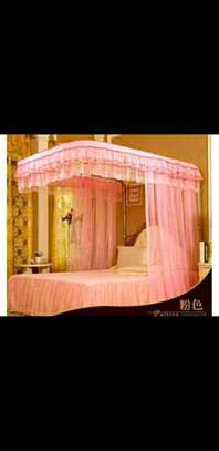 Rail mosquito net 5 by 6 pink image 1