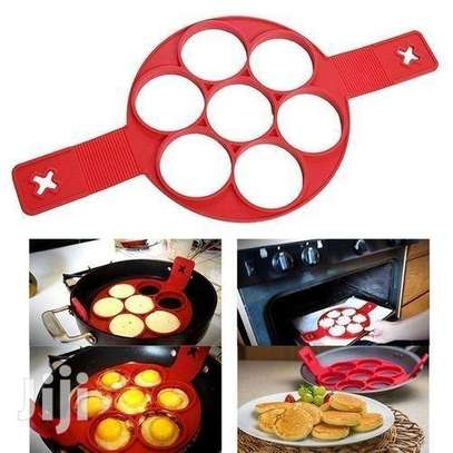 Non Stick Silicone Pancake Maker Flipper & Fried Egg Mold Ring - Red image 1