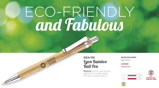 Lyon Bamboo Branded Ball Pen image 1