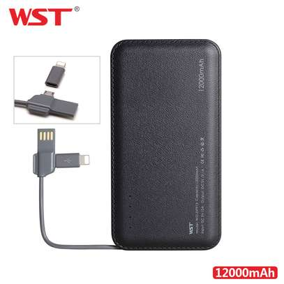 WST 12000mah Power Bank Built-in Cable Portable Battery Charger