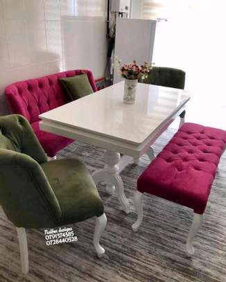 Latest dining set trends/modern chesterfield dining set image 1