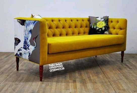 Yellow tufted three seater sofa/sofas for sale in Nairobi Kenya/Best sofa shops in Nairobi Kenya/Furniture stores in Nairobi Kenya image 1