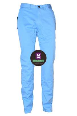 Sky Blue Slim Fit Soft Khaki