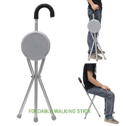 Foldable walking stick with Seat image 1