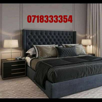 Fabulous Modern Quality Upholstered 5by6 Hardwood Bed image 1