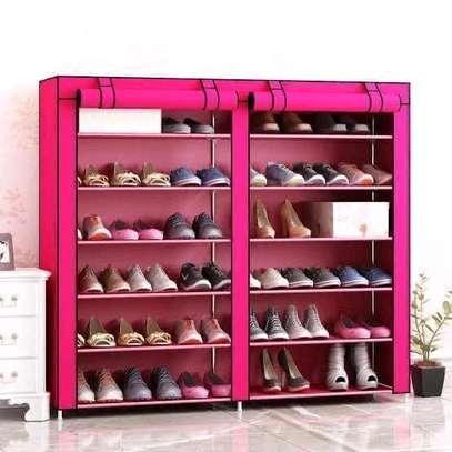 Pink durable double shoe rack image 1