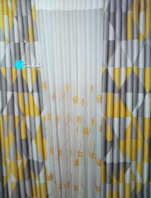 patterned grey and yellow curtains image 1