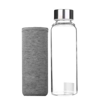 Portable Glass Sport Water Bottle Clear with Protective Bag 550ml
