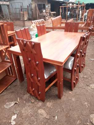6 Seater Mahogany Dining Table (X styled chairs)