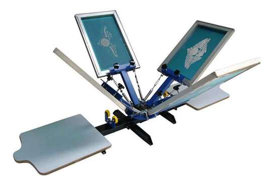 4 Color 4 Station Single Rotary Screen Press image 1