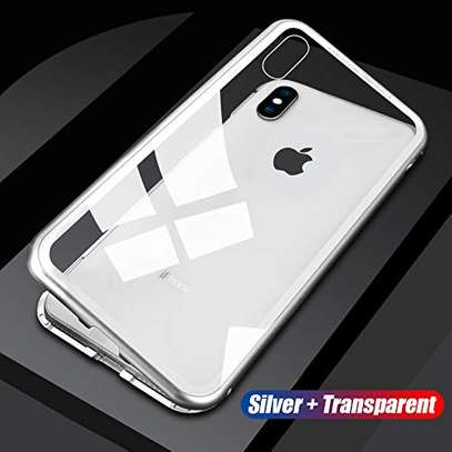 Magnetic Adsorption Case For iPhone X XS- Clear Glass Back image 2