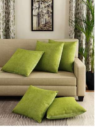 plain velvet green throw pillows image 1