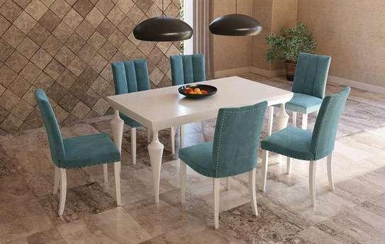 Modern white dining table set/six seater dining table for sale in Nairobi Kenya/best dining table manufacturers in Nairobi Kenya image 1