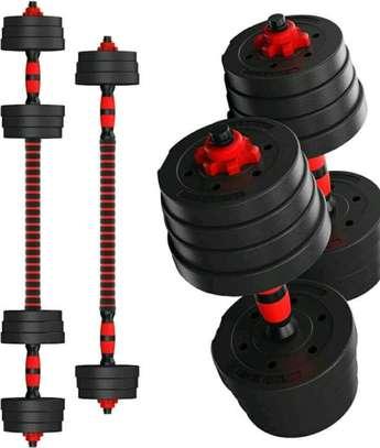 Set of 30kgs rubber coated dumbbells image 1