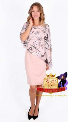 Dust Pink Floral Print Overlay Dress. image 2