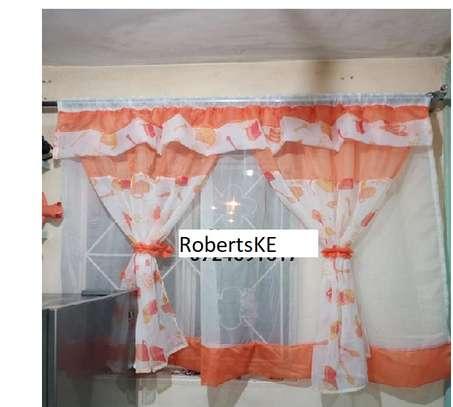 White orange kitchen curtain