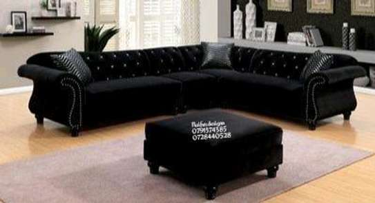 Modern black L shaped sofa/five seater sofas image 1