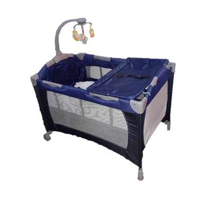 Baby cot playpen baby crib with changing table net and toys- blue image 1