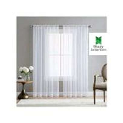 Window curtains WHITE with free sheers image 2