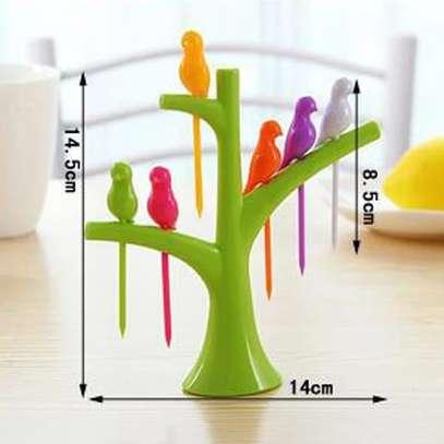 Birdie 6pcs Fruit  pick forks set with stand image 2