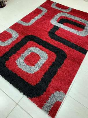 TURKISH SHAGGY CARPETS RED AND BLACK image 1