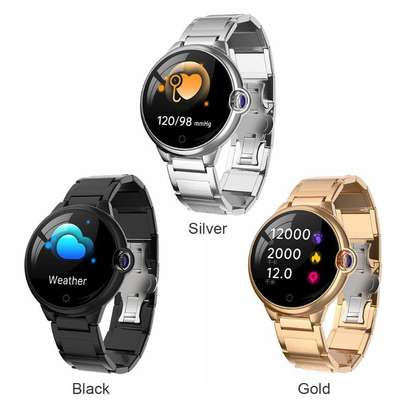 Fitness Health tracker Smart Watch with Hyperbolic Mirror Stainless steel straps image 1