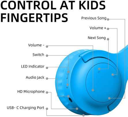 Picun E3 Bluetooth Headphone for Kids (Blue) image 5