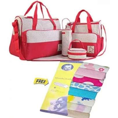 5 in 1 set Red Baby Diaper Bag + comes With Free Wash Clothes