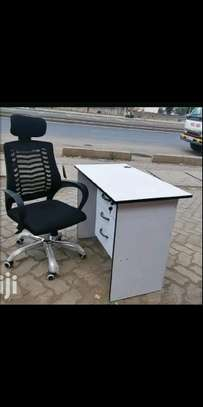 Office Chair with a strong shield type lumbar support and a desk image 1