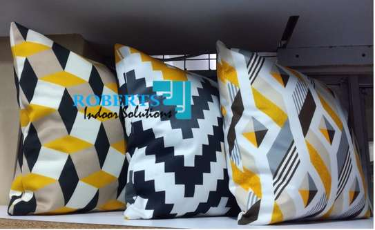printed with a touch of yellow throw pillows image 1