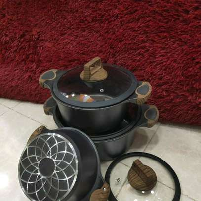 Nonstick sufuria , three set cooking pots , stainless sufuria