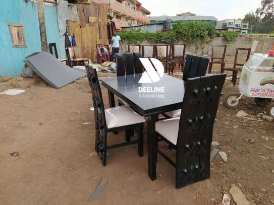 Black 4 Seater Dining Table. image 6