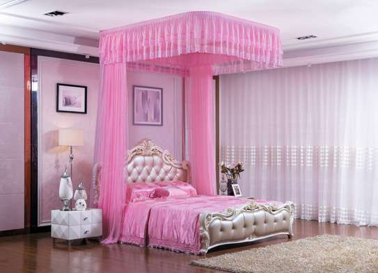 2 Stand Mosquito Net With Sliding Rails- Pink 4*6/5*6/6*6 image 2