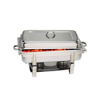 Signature Chafing Single Dish Stainless Steel Single Tray Buffet Catering - Silver .