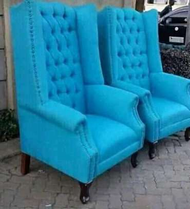 Two blue wing chairs image 1