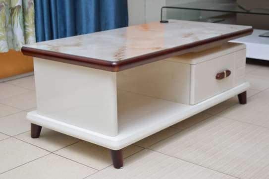 Coffee Table Tempered glass top white veneer image 1