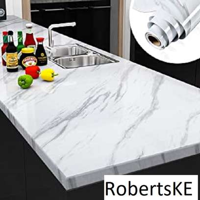 Kitchen counter waterproof marble wallpapers. image 3