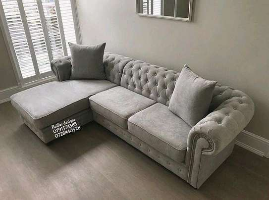 Modern chesterfield L shaped sofas for sale in Nairobi Kenya/five seater L shaped sofas/beige sofas image 1