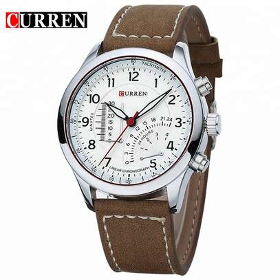 CURREN 8152 Luxury Leather White Wrist Watch - For Businessmen Army