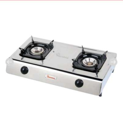 Ramtons Double Burner Gas Cooker - Silver image 1