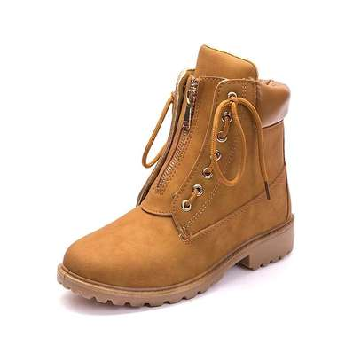 Ladies zip up ankle leather boots image 2