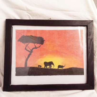 Elephant and Calf at Sunset Painting image 1