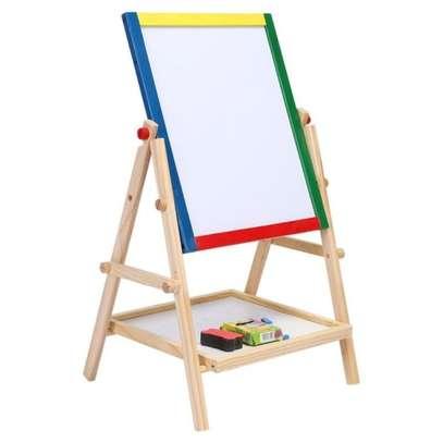 2 in 1 Wooden Kids Easel Blackboard Whiteboard Drawing Writing Chalk Board image 4