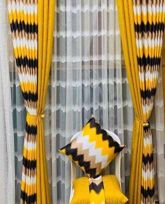 window curtains yellow print image 1