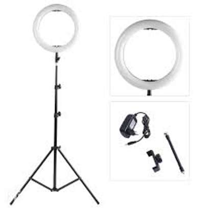 14 Inches Ring Light + 2.1 Metres Stand Adjustable Brightness for YouTube – TikTok – Videos – Makeup Videos – Colours: White – Warm White Light image 1